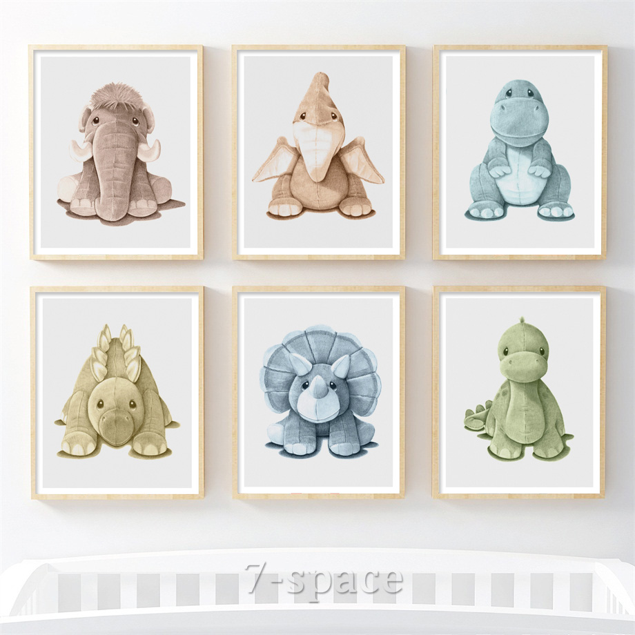 Dinosaur Elephant Doll Nursery Art