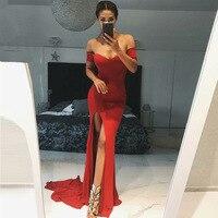 Vivian's Bridal 2018 Summer Sexy V Neck Bridesmaid Dress Red Slit Side Chapel Train Backless Women Asymmetrical Long Party Dress