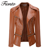 PU Leather Jacket Women Winter Faux Leather Short Jackets Lady Bomber Motorcycle Cool Zipper Outerwear New