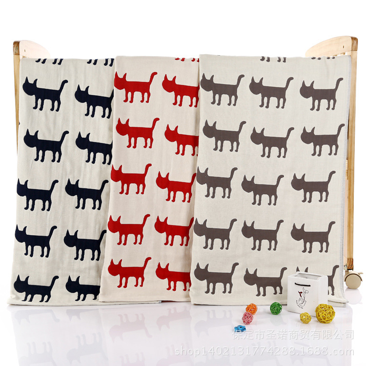 Baby Blanket Bomuld Blødt Tykkere Baby Gaze Blanket Cartoon Cat Pattern Swaddle Me Nyfødt Baby Bath Håndklæde Baby Blanket Bedding