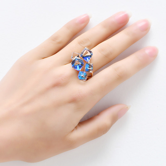 NEW 2017 Blue cubic Crystals Rings for women Rose gold color wedding rings female anel AAA Zircon fashion Jewelry top quality