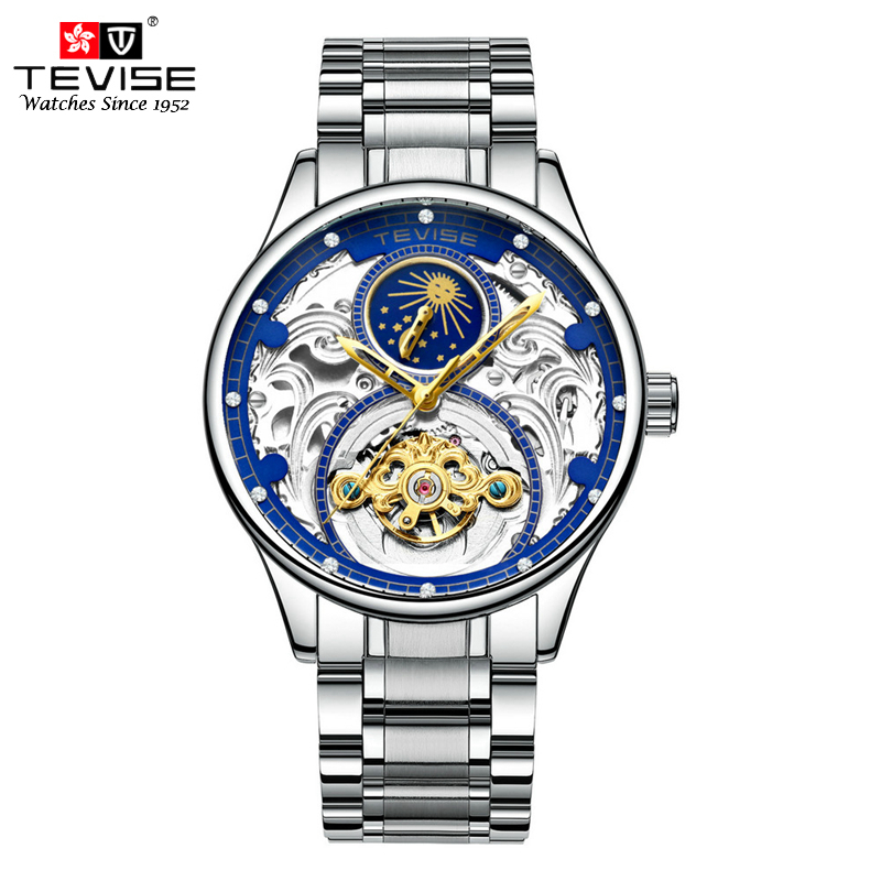 TEVISE Business Tourbillon Automatic Self Wind Watches Men Mechanical Watch Stainless Steel Moon Phase Wristwatches Montre Homme