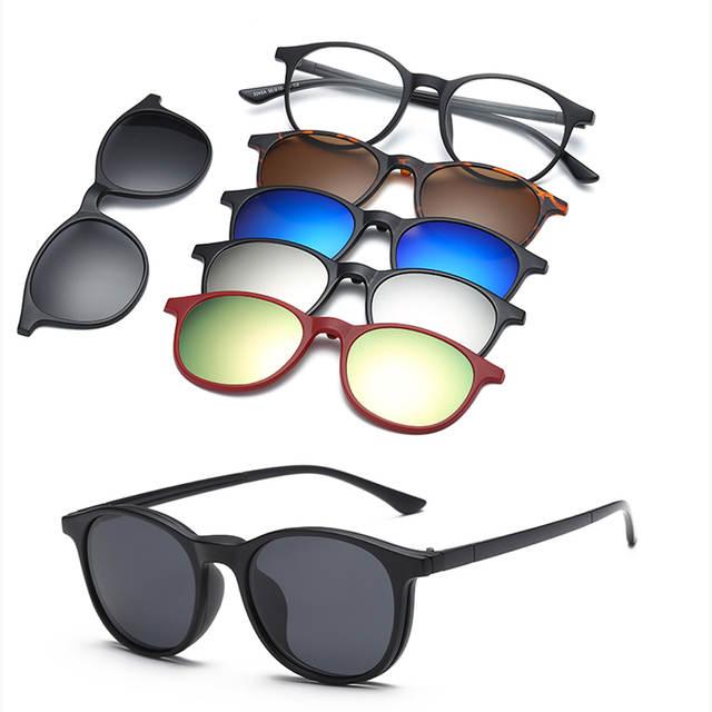 1c75723adee38 RUISIMO 5 lenes Magnet Sunglasses Clip Mirrored Clip on Sunglasses clip on  glasses Men Polarized Custom