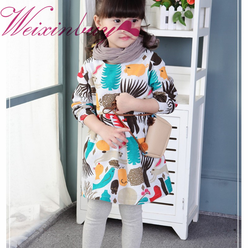 WEIXINBUY Girls Christmas Dress Autumn England Kids Clothes Gilr Long Sleeve Cartoon Forest Animals Graffiti Dresses Vestidos