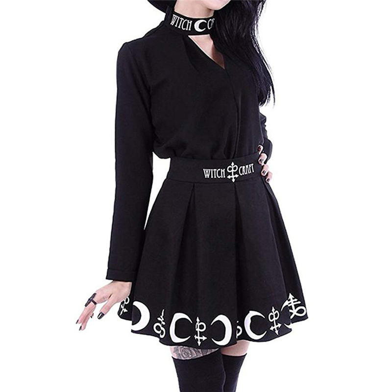 Summer Women Skirt Punk Rock High Waist Line Mini Witch Skirt Moon Printed Harajuku Witch Art Moon Pleated Skirt Q0222