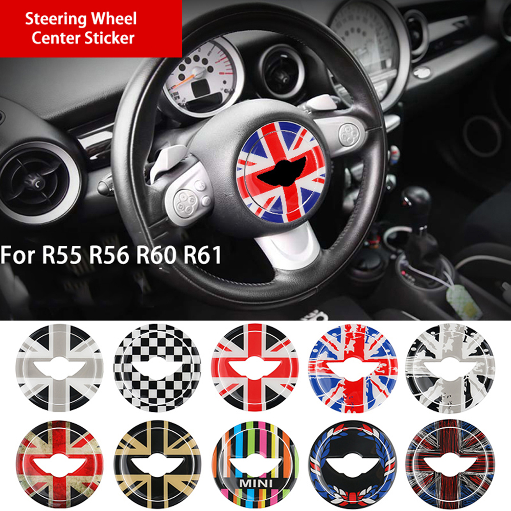 Union Jack 3D Steering Wheel Center Sticker Decals for BMW MINI Cooper JCW R55 R56 R57 R58 R59 R60 R61 Countryman Car Styling mini outside rearview side mirror decoration and protection cover for mini cooper countryman clubman r55 r56 r57 r58 r59 r60 r61