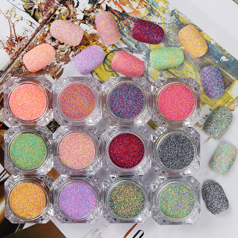 1 Box Nail Sandy Sugar Mixed Powder Manicure Nail Art Glitter Powder Dust Tip Nail Art Decoration Nail Tools 12 Colors