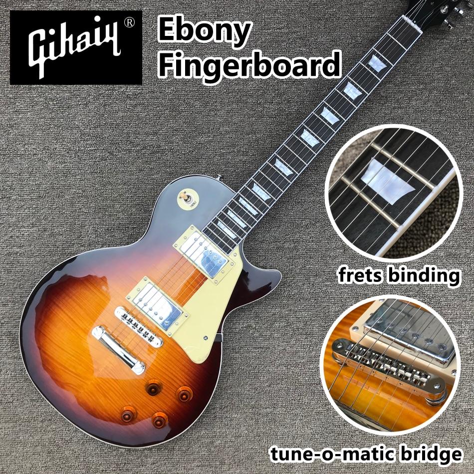 High Quality Dark Sunburst Maple Top Electric Guitar With