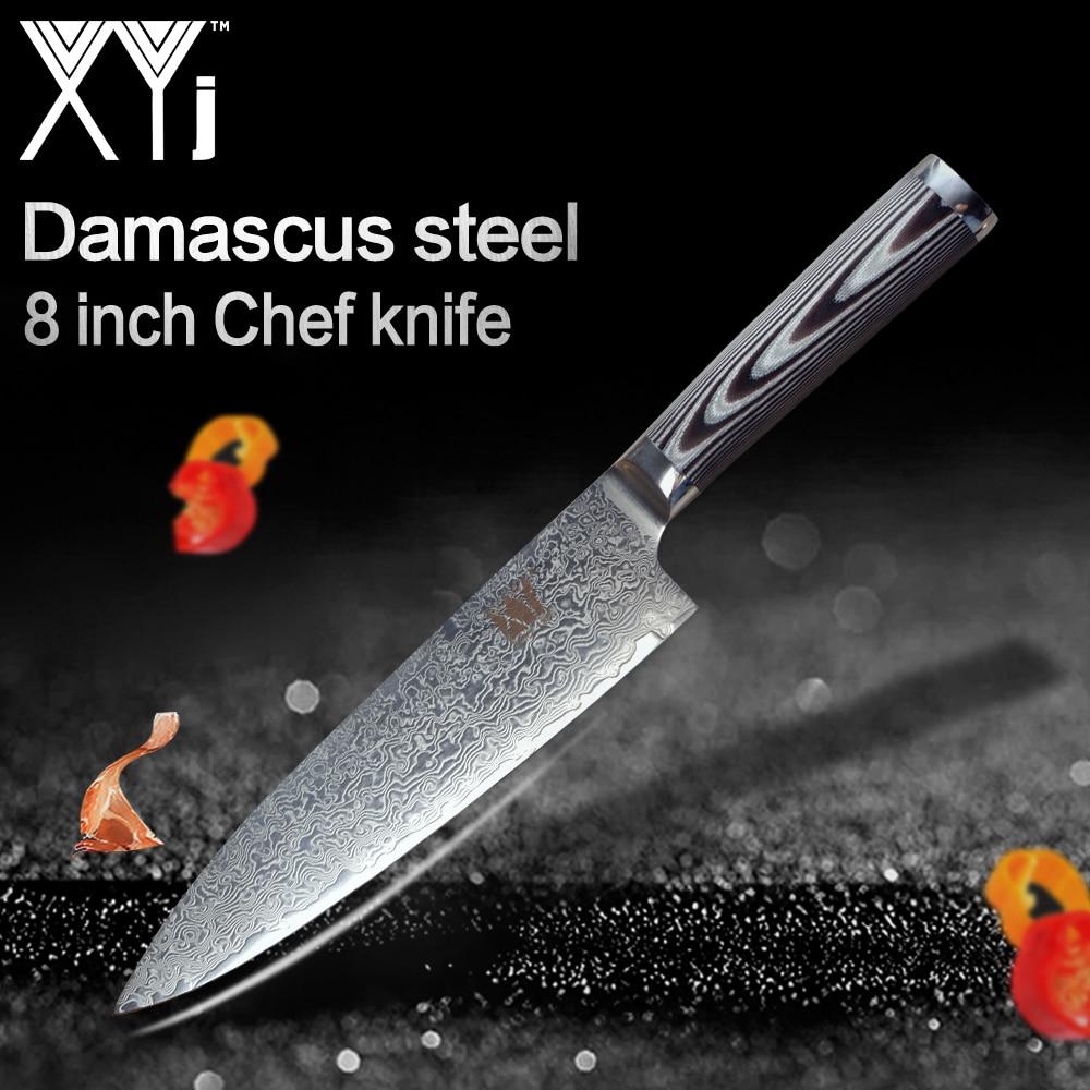Nuovo Arrivo 2019 XYj 8 pollici Chef di Cucina di Damasco Coltello Da Cucina Coltello AUS-10 Damaso In Acciaio G10 Maniglia Coltelli Da Cucina Accessori Per Strumento