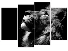 4 pieces / set Lion Canvas Painting HD Printed Animals Group Home Decor Wall Pictures For Living Room Pictures