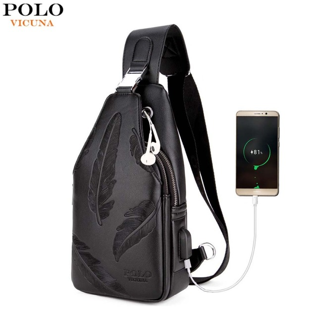 Vicuna Polo Double Pocket Feather Embossing Usb Charging With Headphone Outlet Leather Men Messenger Bag Shoulder