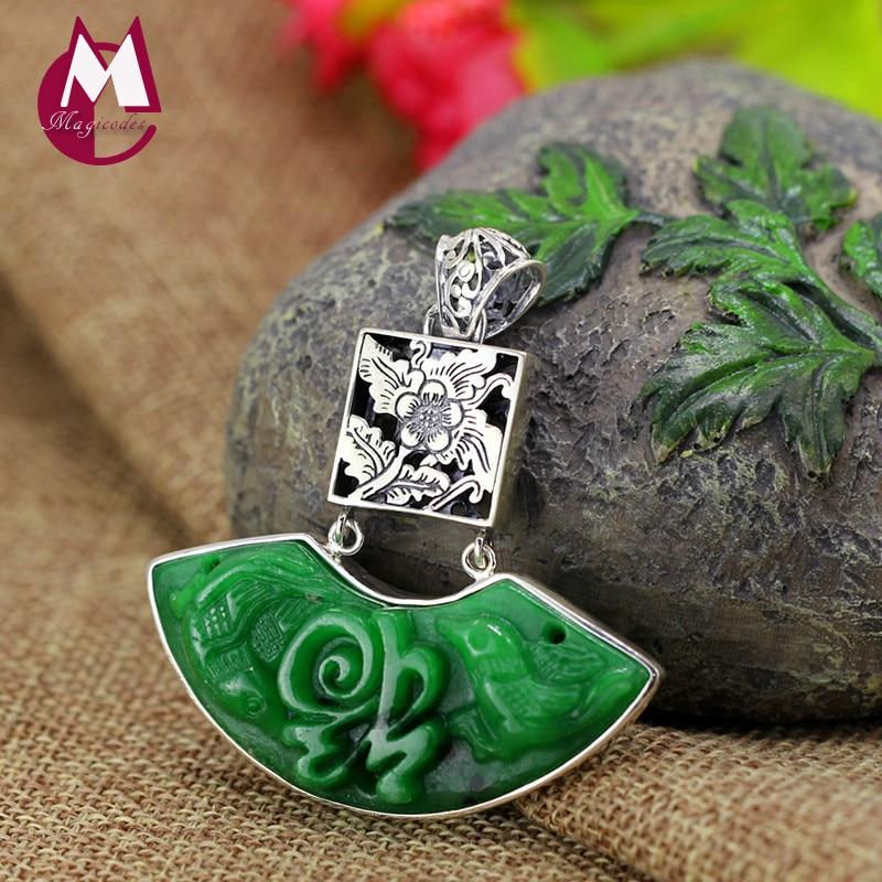 Exquis Vert Jade Collier Pour Femmes 100% 925 En Argent Sterling Colliers et Pendentifs Bijoux Creux Fleur Bonne Fortune SP06
