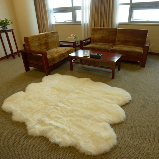 free shipping big size merino cream white 6 sexto hotel home decoration real nature sheepskin carpet