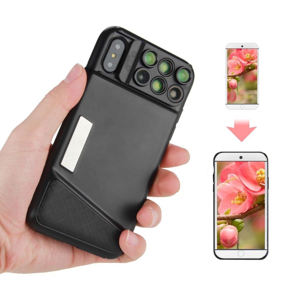 ET Double Camera Lens Téléphone Cas pour iPhone X Professionnel Fisheye Grand Angle Macro Lentille Ultra-Mince Couverture de Téléphone Cas Lentilles hotsale