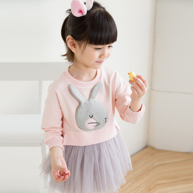 Lovely Cute 3D Rabbit Child Baby Girl Cotton Dress Korean Long Sleeve Autumn Sweet Kids Children Clothing, Pink/ Grey/ Red