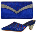 High Quality African Shoes And Bags Fashion Sandal Blue Italian Matching Shoes And Bag Set Nigerian High Heels For Wedding 66055