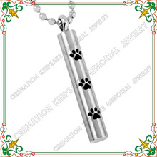 CMJ8347 Paw print animal cylinder urn cremation jewelry hot selling popular dog ashes memorial necklace