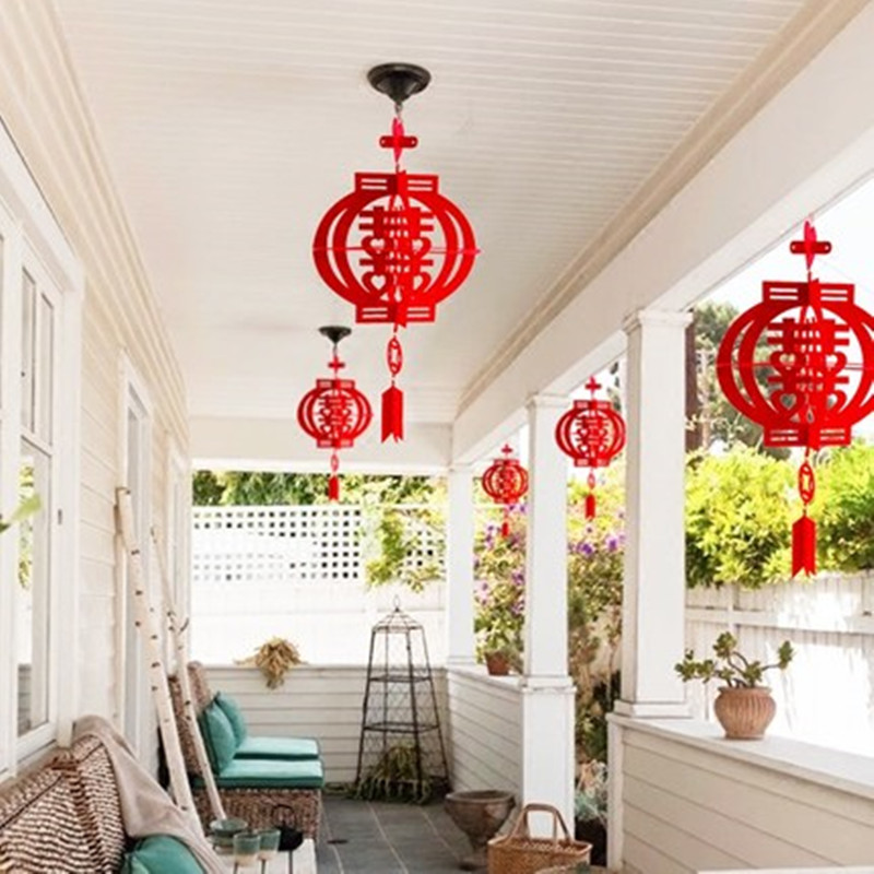Diy Fix Hanging Double Happiness Tassel Balls Chinese New Year House