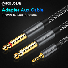 Posugear Jack 3.5mm to Dual 6.35mm Splitter Adapter Audio Cable for Mixer Amplifier Speaker 3.5 to 2*6.5 Male to Male Aux Cord jack 3 5mm to 6 35mm adapter audio cable for mixer amplifier speaker 6 5mm jack male splitter audio cable
