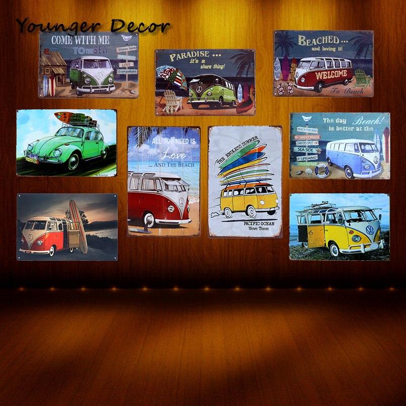 Paradise Beach VW Bus Tin Sign Famous Car Brand Art Wall Decoration Bar Pub House Hotel Garage Metal Painting Retro Plaque
