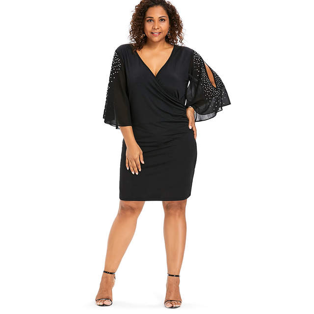 181c3101cf932 Wipalo Plus Size 5XL Flare Sleeve Overlap V Neck Bodycon Surplice Dress  Women Split Sleeve Sparkly Party Dresses Femme Vestidos