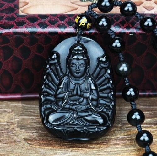 Natural Obsidian Avalokitesvara Guanyin Buddha Buddha Guanyin Beaded Pendant