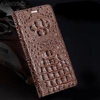 LANGSIDI genuine leather flip Wallet Wholesale for Huawei p30 lite case Crocodile back texture For p30 pro handmade phone case
