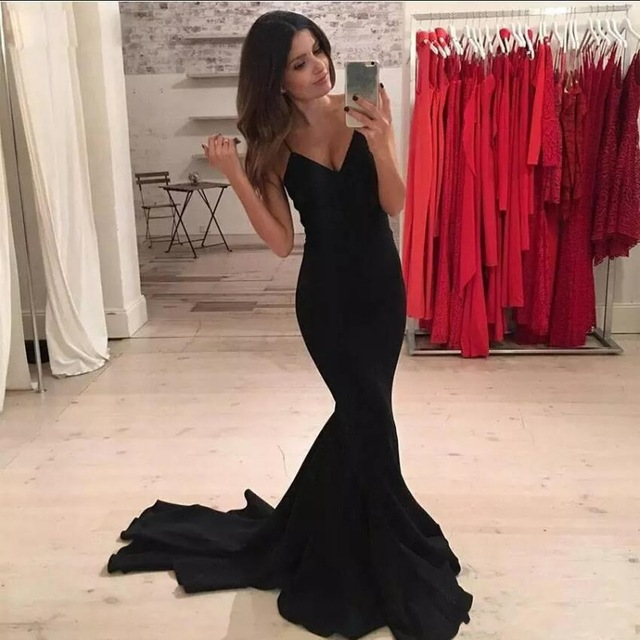 Black Mermaid Prom Dresses 2019 Spaghetti Straps Sexy V Neck Custom Made Formal Evening Celebrity Party Gowns vestido de festa in Evening Dresses from Weddings Events