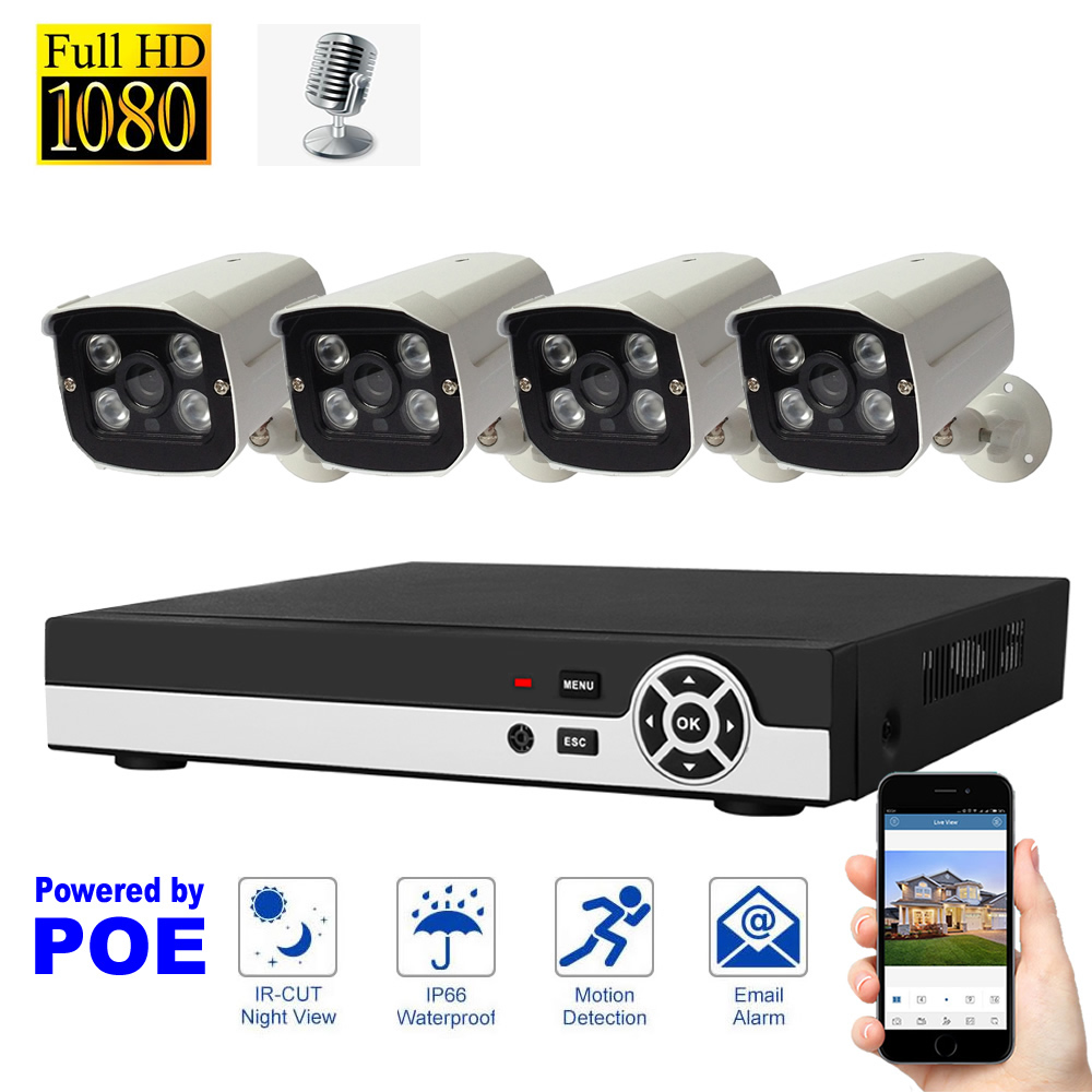Audio Recording Surveillance Security System 1080P POE Camera System 4CH NVR Kit Motion Detection with Microphone Waterproof 2MP