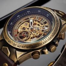 الميكانيكية ساعة الرجال التلقائي ساعة رجالي الهيكل العظمي الساعات البرونزية جلدية Steampunk شفافة خمر ساعة يد رياضية الذكور