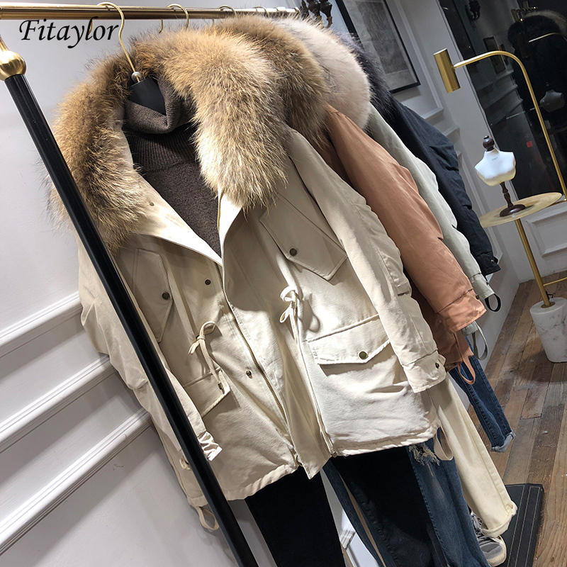 FTLZZ Winter Jacket Women White Duck Down Coat Large Fur Collar Hooded Parkas Medium Long Snow Overcoat
