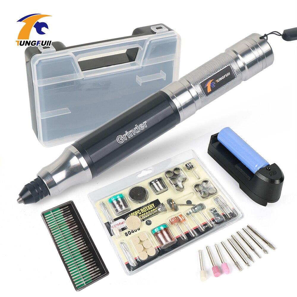 TUNGFULL Penna Incisione Per Dei Monili del Metallo di Vetro Elettrico Nail Drill Penna Incisore Intaglia Strumento di Accessori Dremel Lucidatura Intagliare