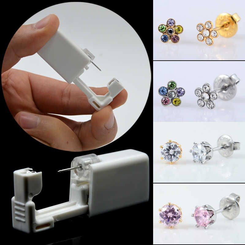 Daisies Flower Sterlised Disposable Safety Nose Ear Piercing Device+Sterile Bezel Crystal Studs Ear Piercer Unit