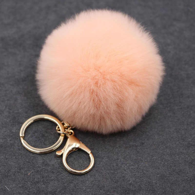 Grande de Couro Falso 8 cm Saco Bulbo Capilar Bola Pom pom PomPom Pele de Coelho KeyChain Chave Pingente Cadeia de Porte Clef para As Mulheres Adorável Fluffy