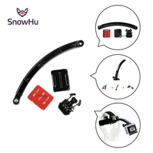 SnowHu Motorcycle Cycling Helmet Extension Arm Buckle Mounts Adhesive For Gopro Hero 7 6 5 4 3 Xiaomi Yi 4k SJCAM Camera GP78