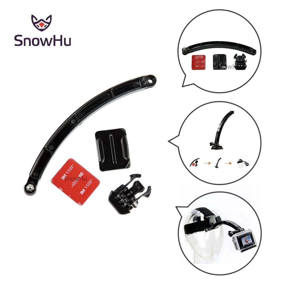 SnowHu Motorcycle Cycling Helmet Extension Arm Buckle Mounts Adhesive For Gopro Hero 7 6 5 4 3 Xiaomi Yi 4k SJCAM Camera GP78