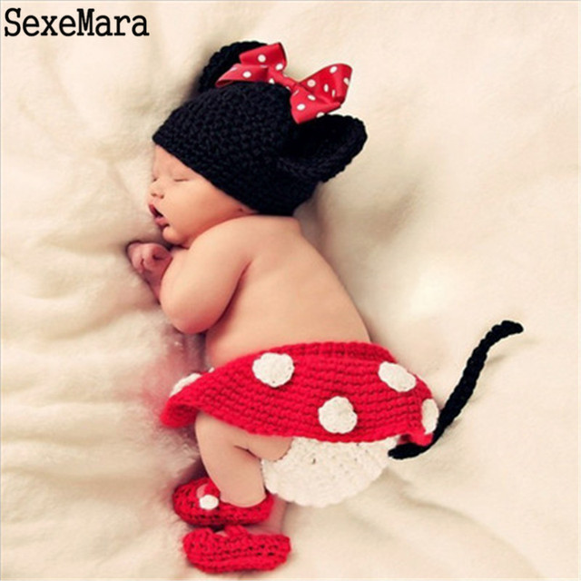 d7ab691d73a Hot Sale Cartoon Photography Props Newborn Baby Knitted Costume Outfit  Mickey Owl Bee Ladybug Baby Shower