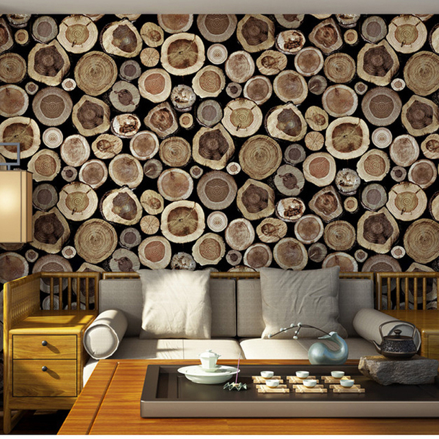 aliexpress : buy chinese style wood pattern 3d wallpaper