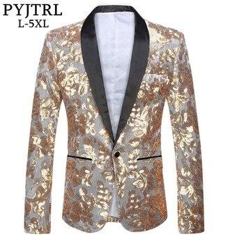 PYJTRL Tide Men Silver Velvet Gold Sequins Slim Fit Blazer Designs Plus Size 5XL Wedding Groom MC DJ Singer Suit Jacket Costumes Men Blazers