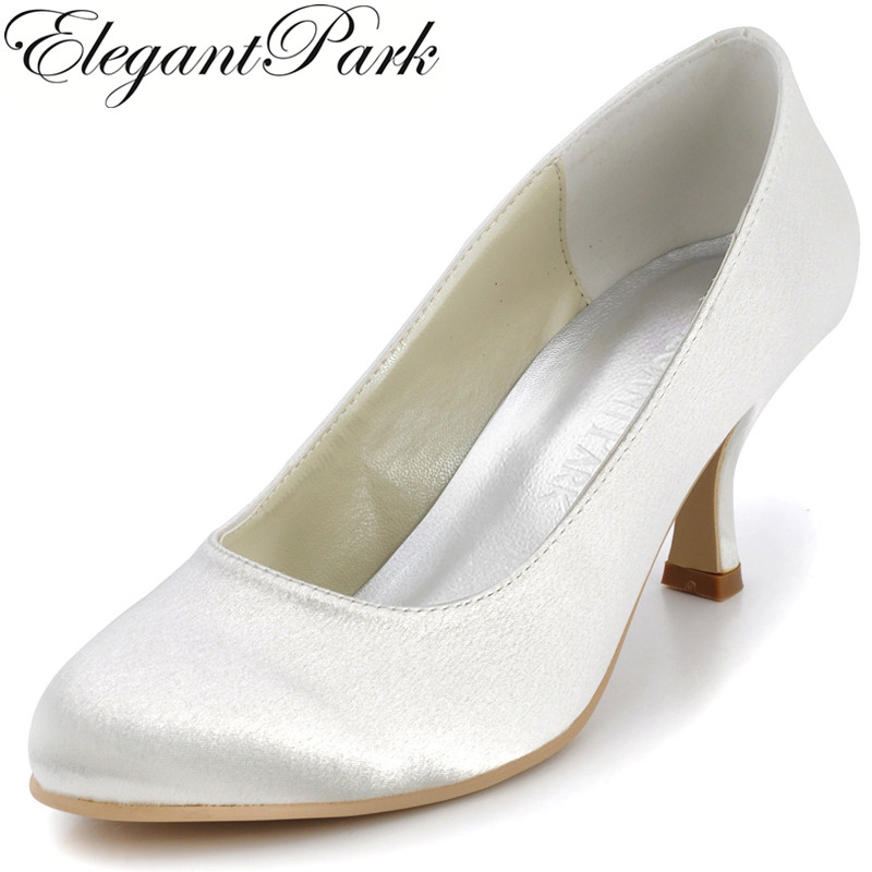 Fall Summer Women Wedding Pumps EP11011 Ivory White Round Toe mid Heel Shoes Satin Bridal Shoes Prom party dress comfortable satin dress shoes hoof heel bridal wedding party prom evening pumps mid heel red royal blue champagne white ivory