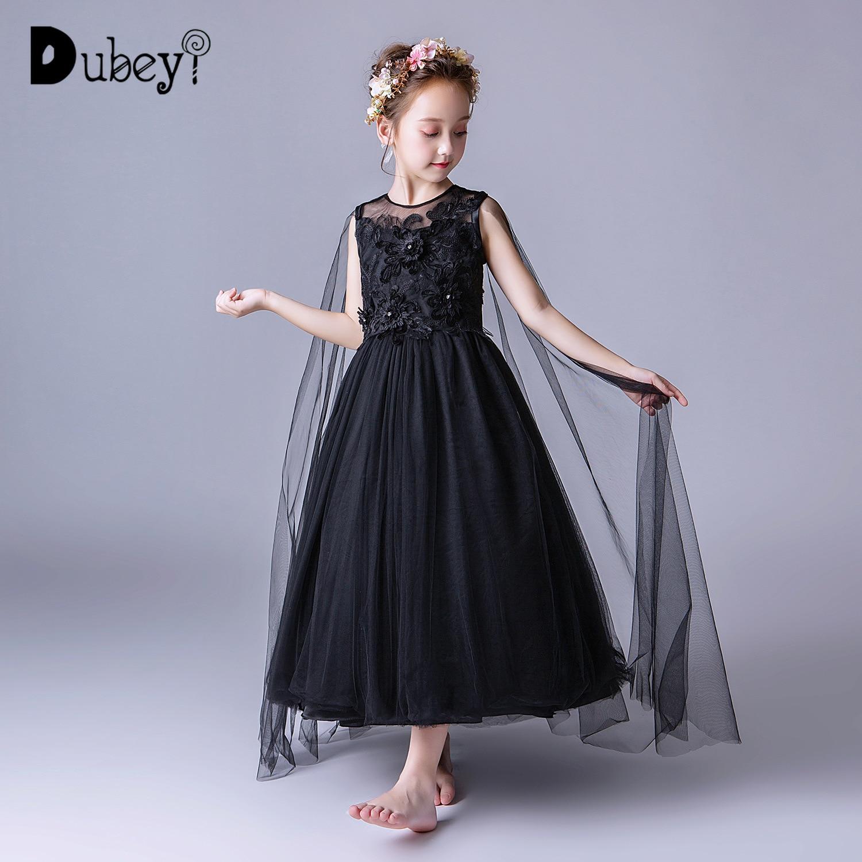 Adolescente fille robe de princesse noire longues robes pour filles 10-12 ans élégante adolescente filles robe de soirée