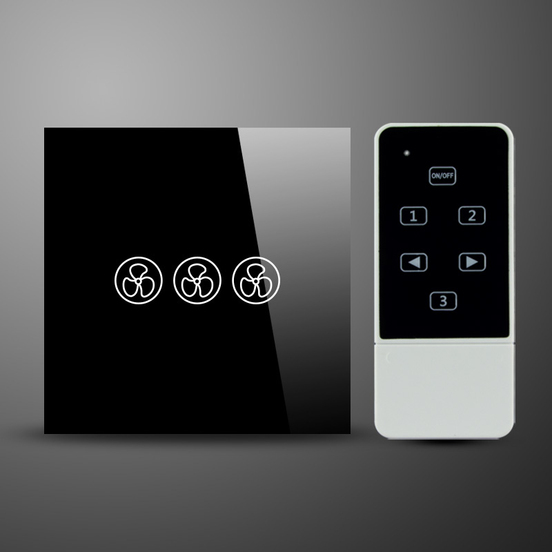 UK Type Crystal Touch Glass Panel RF 433Mhz Wireless Remote Touch Fan Speed Switch 200W suck uk