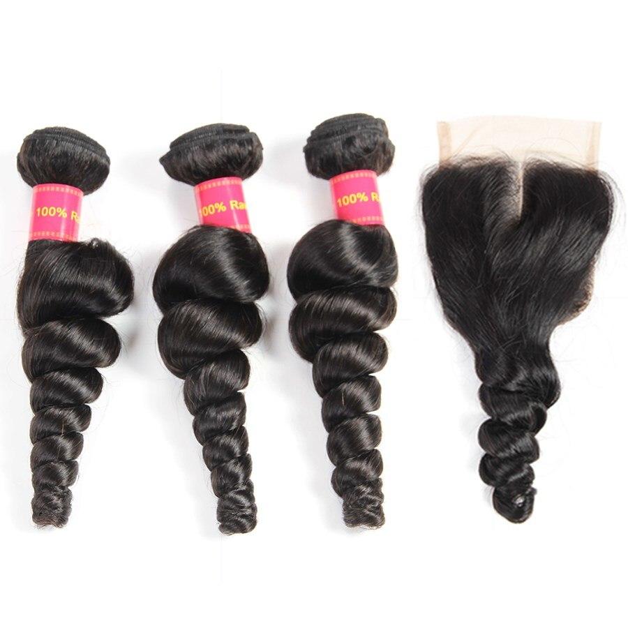 Dejavu Hair Brazilian Loose Wave 3 Bundles With Closure Middle Part Non Remy Hair Bundles with Closure Natural Color No Tnagle