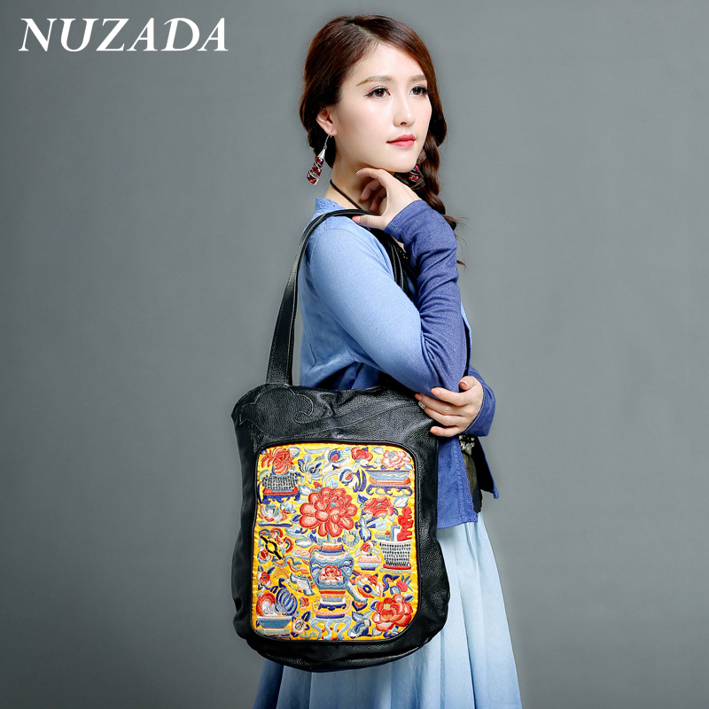 ФОТО Brands NUZADA Women Girls Ladies Hand Bag Handbag Tote Satchel Shoulder Bags 100% pure Genuine Leather embroidery cst-014