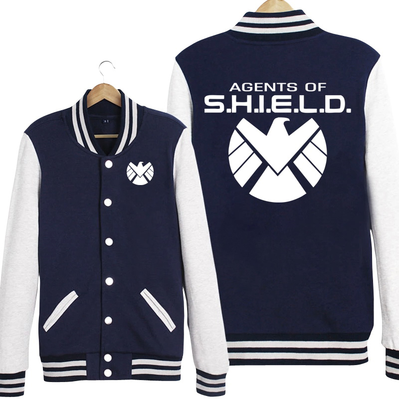 The Avengers Agents of S.H.I.E.L.D. SSR Ptint Women Men Long Sleeve Baseball Jacket Jersey Fleece Hoodies Sweatshirts