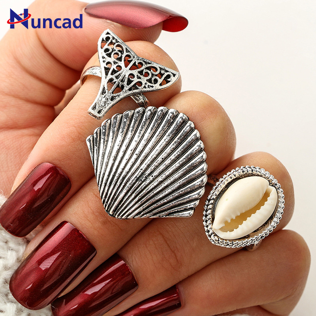 2017 New 3 Pcs/Set Women Carved Sea Shell Ring Set Silver Plated Knuckle Rings B