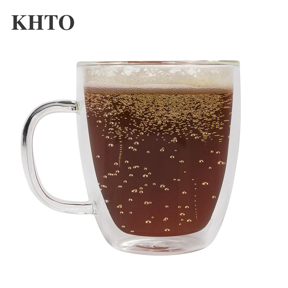 khto glass mug double wall large coffee mugs with the handle mugs drinking insulation glass tea. Black Bedroom Furniture Sets. Home Design Ideas
