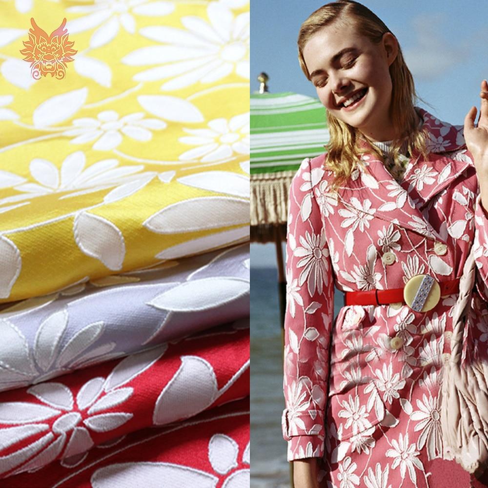 Tissu teint en fil de jacquard floral violet rouge jaune pastorale américain pour tissu jacquard de manteau de robe pour coudre stoffens SP4530