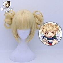 My Hero Academia Akademia Himiko Toga Short Light Blonde Ponytails Heat Resistant Cosplay Costume Wig + wig cap