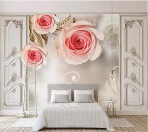 Promo Beibehang Custom Wallpaper 3D Modern Minimalist Rose Pattern TV Background Wall Wallpapers For Living Room Papel Pintado Tapeta